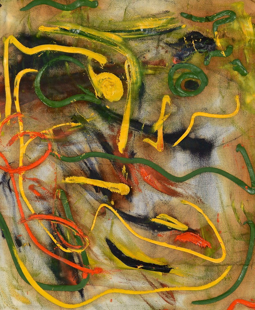 Lot 136: Beauford Delaney, oil on fabric, Abstract of Face