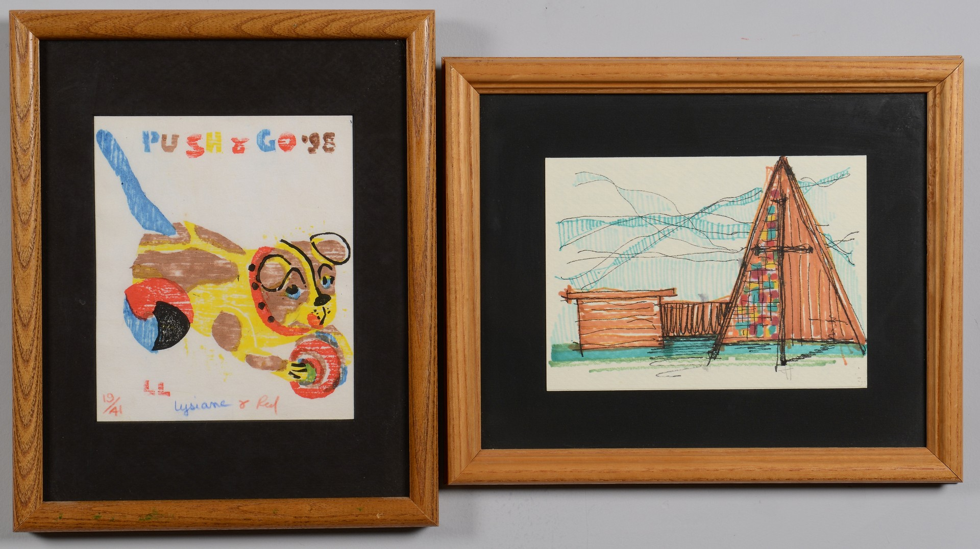 Lot 137: Red Grooms Study for Carousel & Redsville, plus 2 other artworks