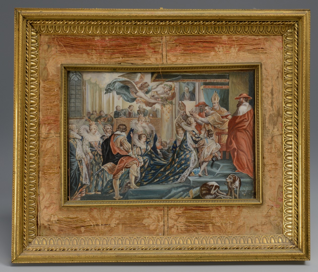 Lot 139: Miniature Coronation Painting, signed
