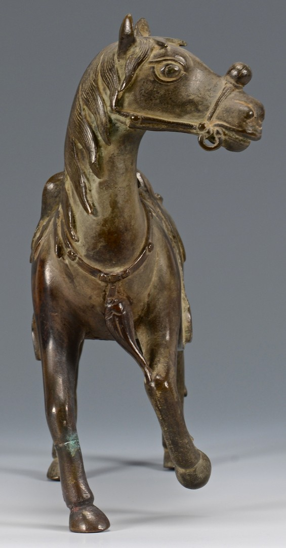 Lot 13: Chinese Bronze Horse w/ Rider, 2 pcs.