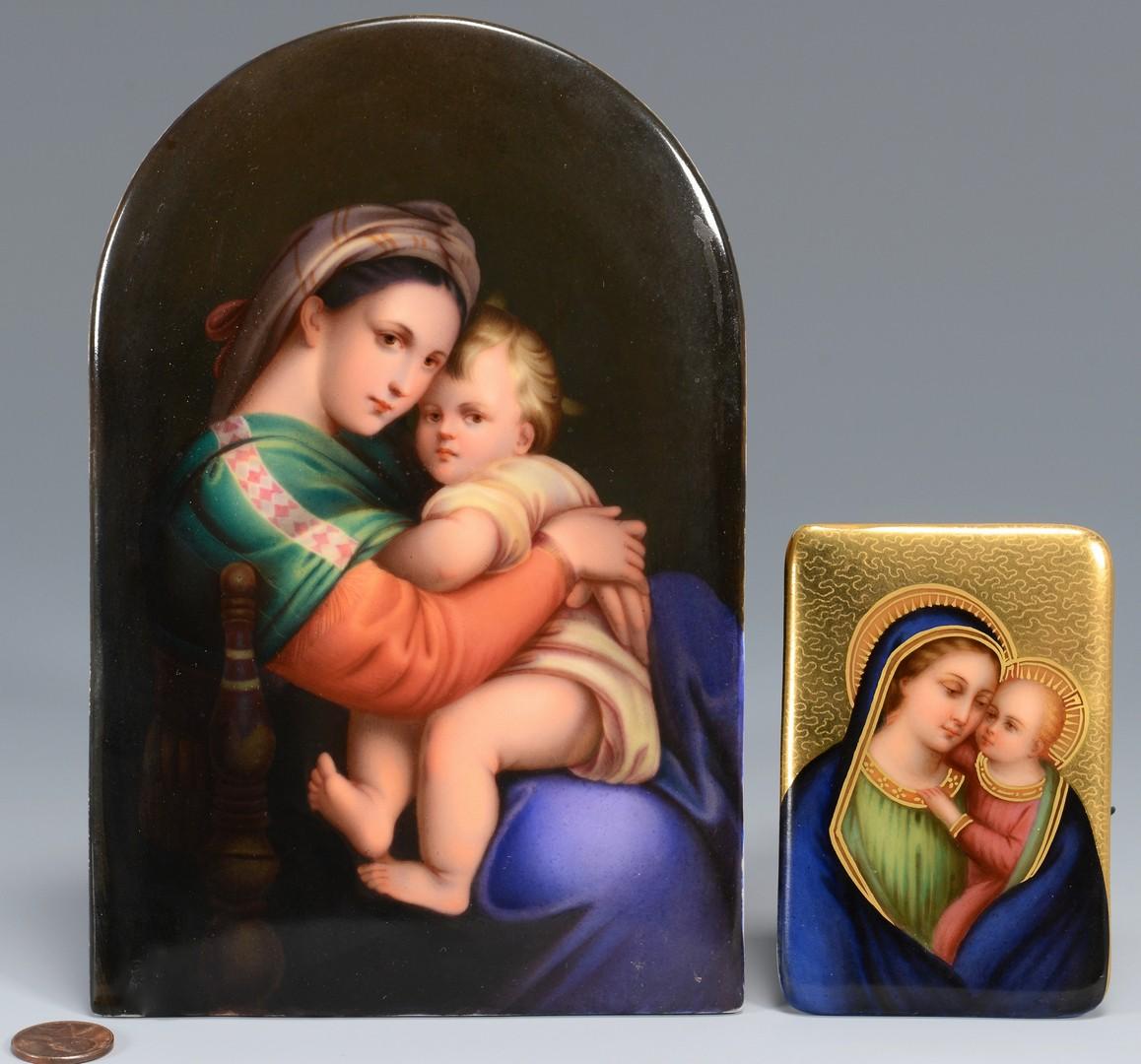 Lot 143: Two (2) Madonna Porcelain Plaques, attrib. German