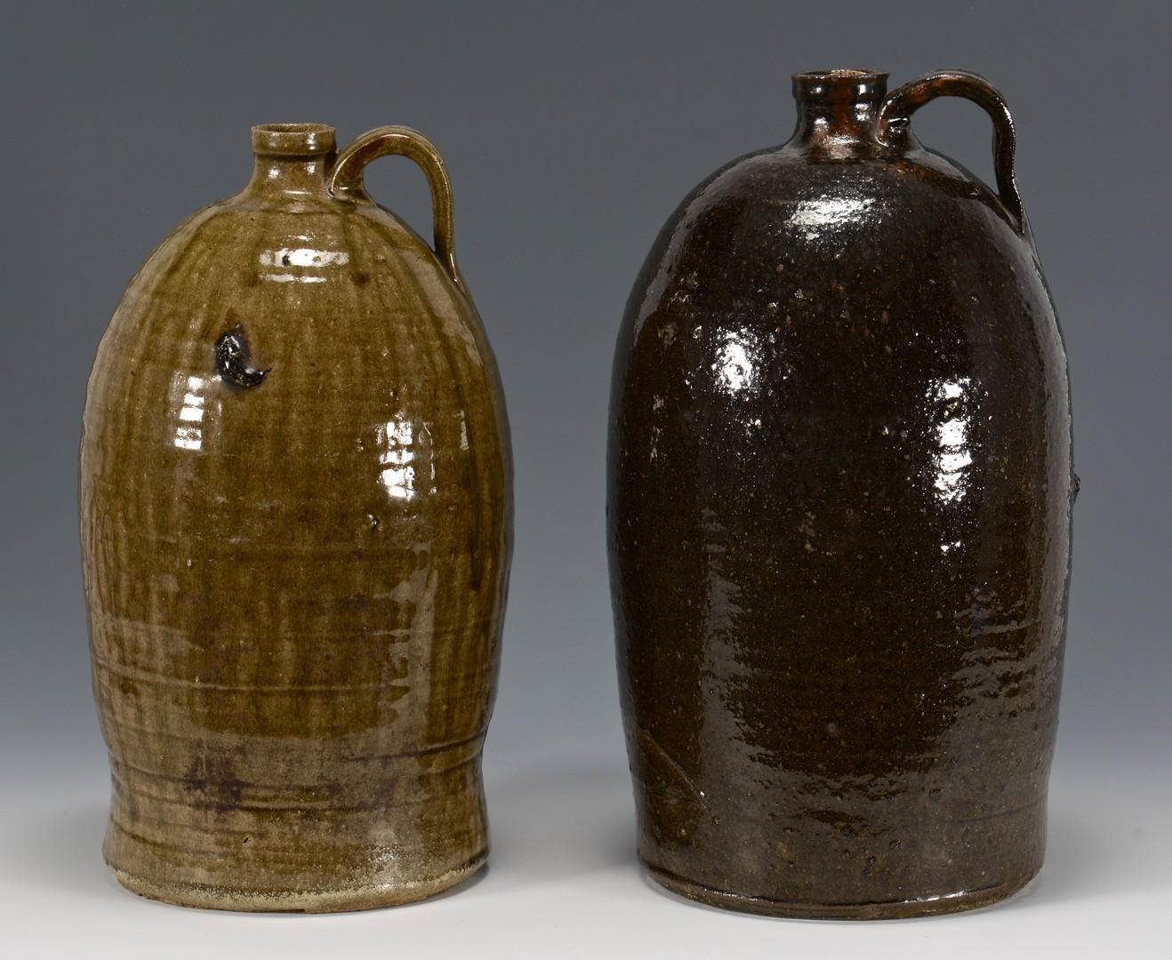 Lot 147: 2 Southern Alkaline Glaze Stoneware Jugs