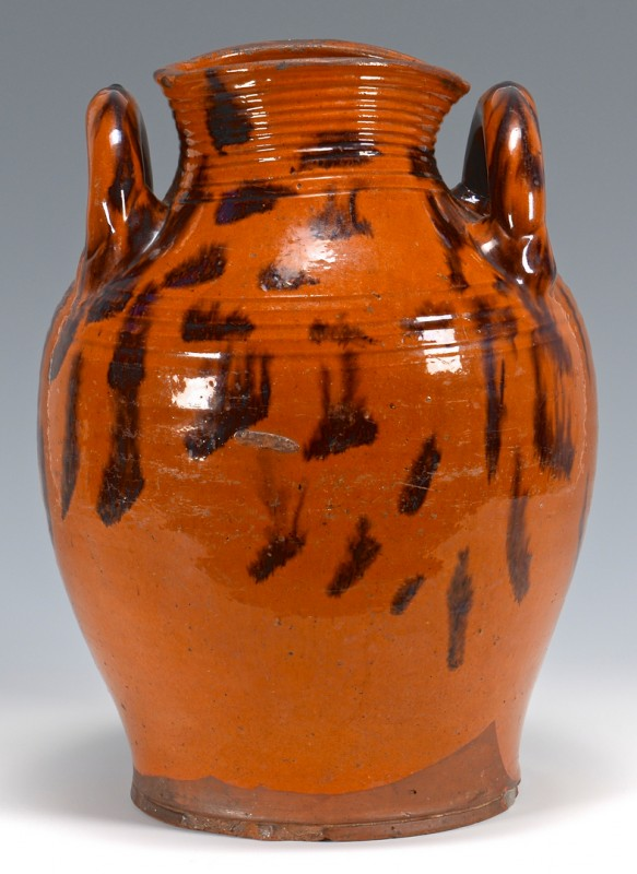 Lot 151: East TN Redware Jar w/ Manganese Decoration