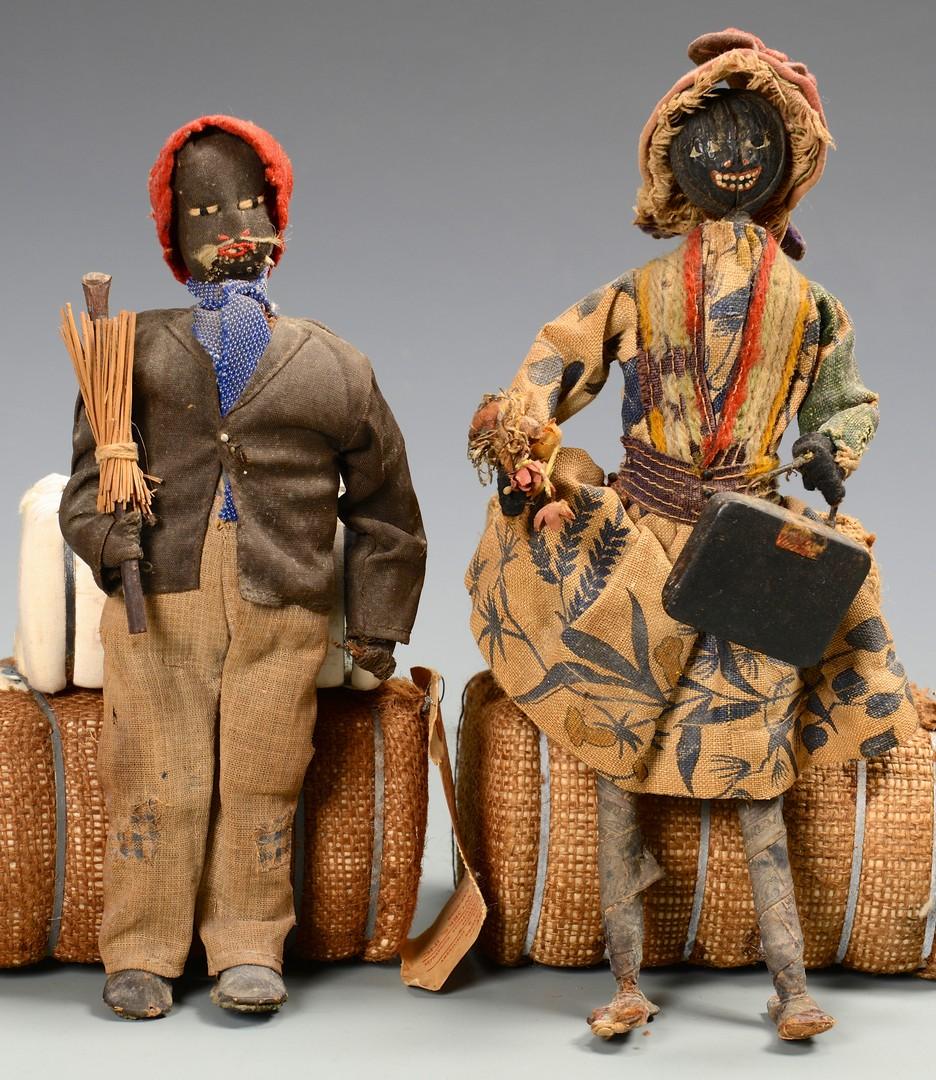Lot 152: 4 Cotton & Cloth Black Dolls & 4 Cotton Bales