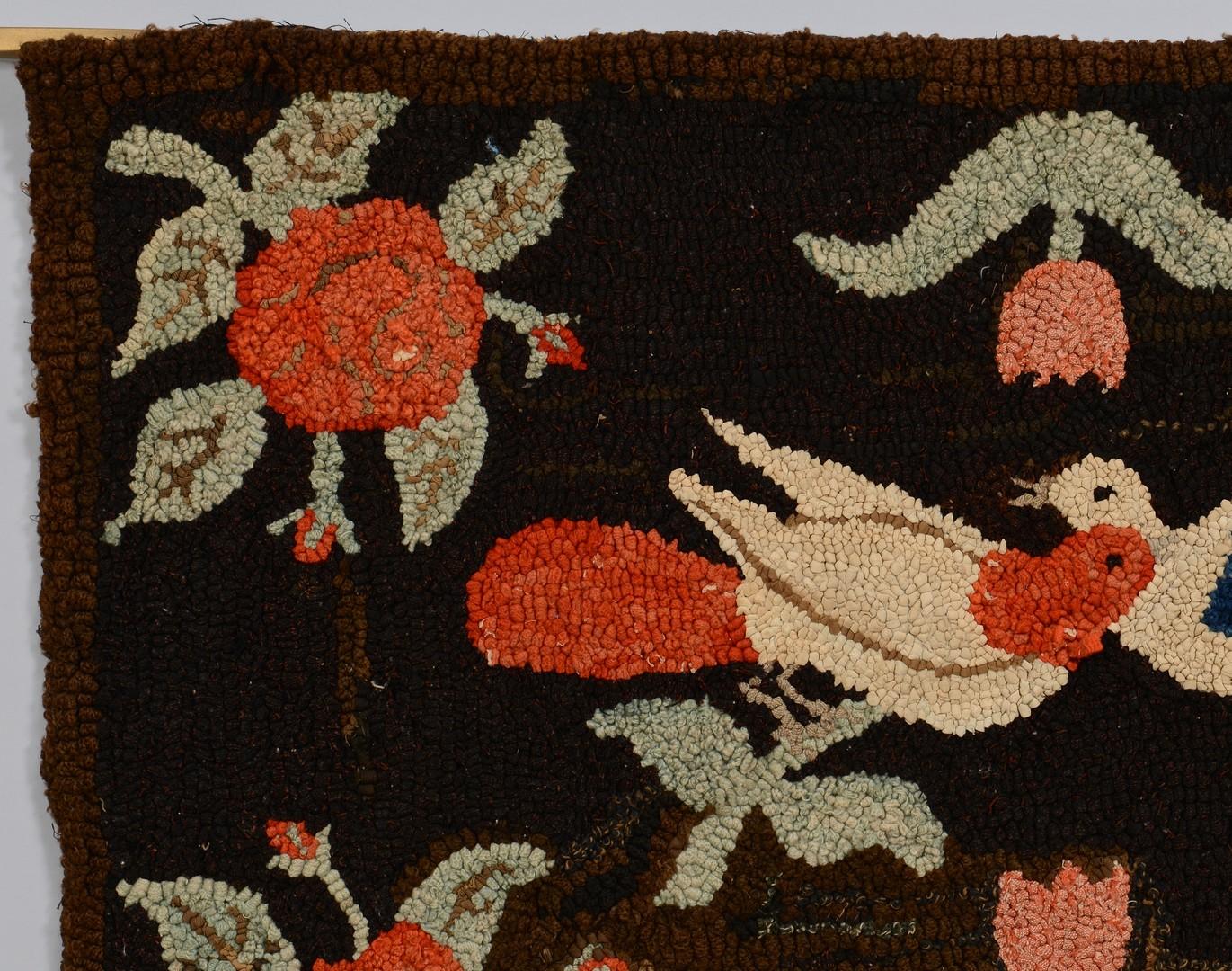 Lot 155: 2 Folk Art Textile Items, Hooked Rug & Sampler