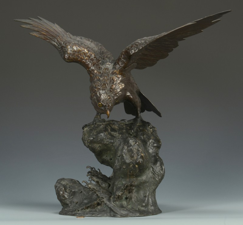 Lot 15: Japanese Meiji Bronze Hawk w/ Hallmark