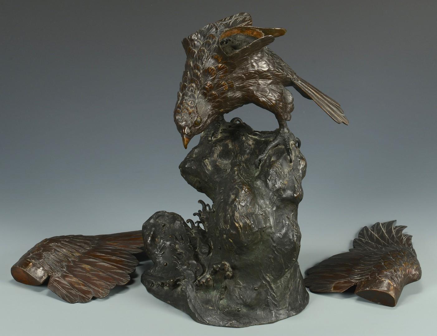 Lot 15: Japanese Meiji Bronze Hawk w/ Hallmark