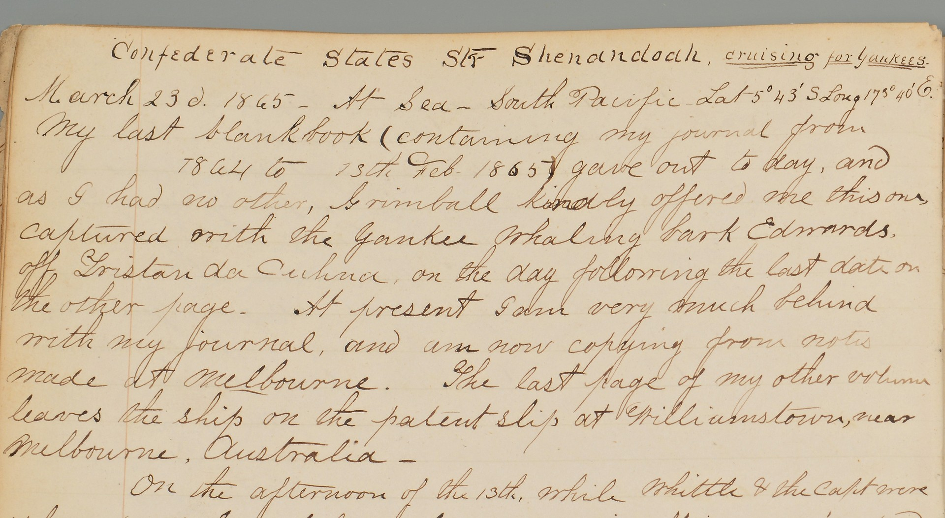 Lot 176: Confederate CSS Shenandoah Diary and Archive