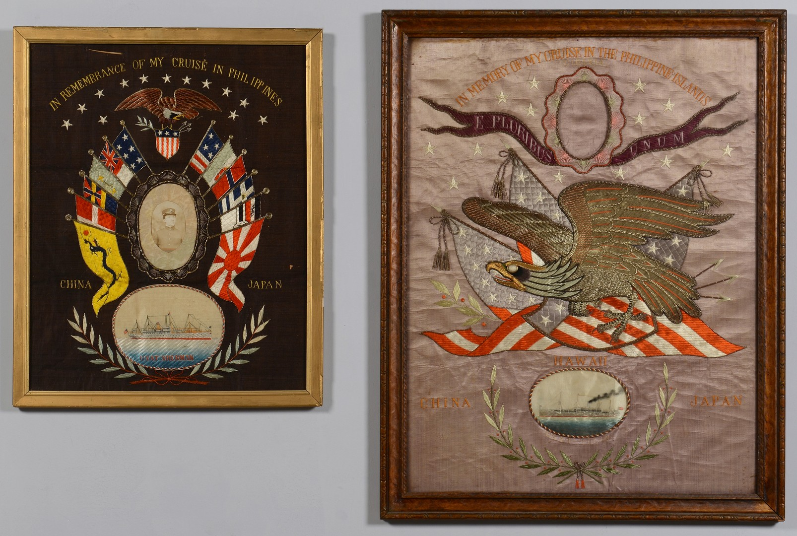 Lot 187: 2 Great White Fleet Embroidered Pictures, USAT Sherman & Logan