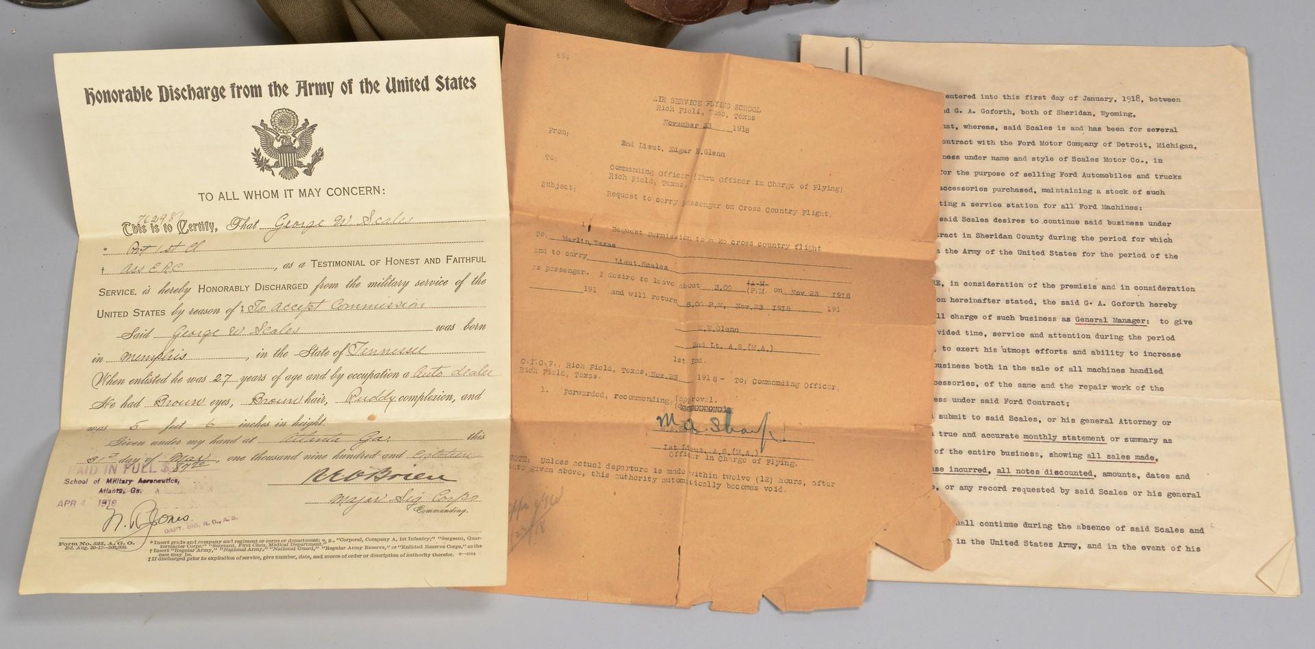 Lot 188: WWI Aviator Uniform, George Scales w/ Archive