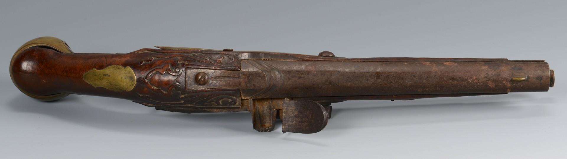 Lot 191: 2 Continental Flintlock Pistols, Powder Horn
