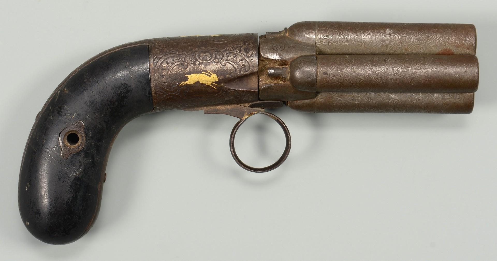 Lot 193: French Mariette Pepperbox Pistol, Lepage Paris