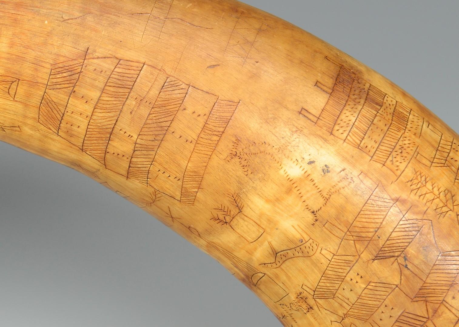 Lot 194: Signed 18th C. American  Powder Horn w/ Scrimshaw
