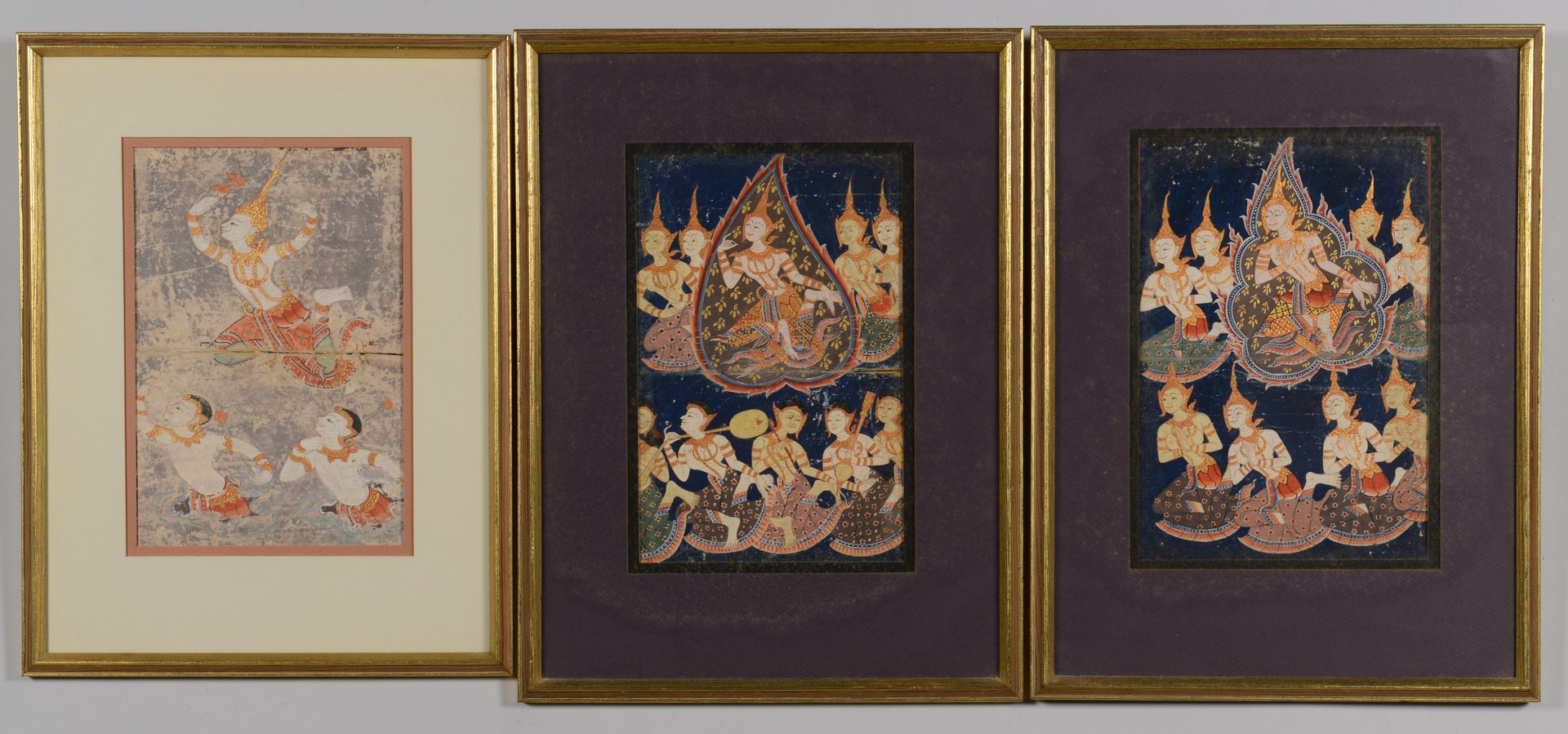 Lot 19: 3 Framed Tibetan Thangkas