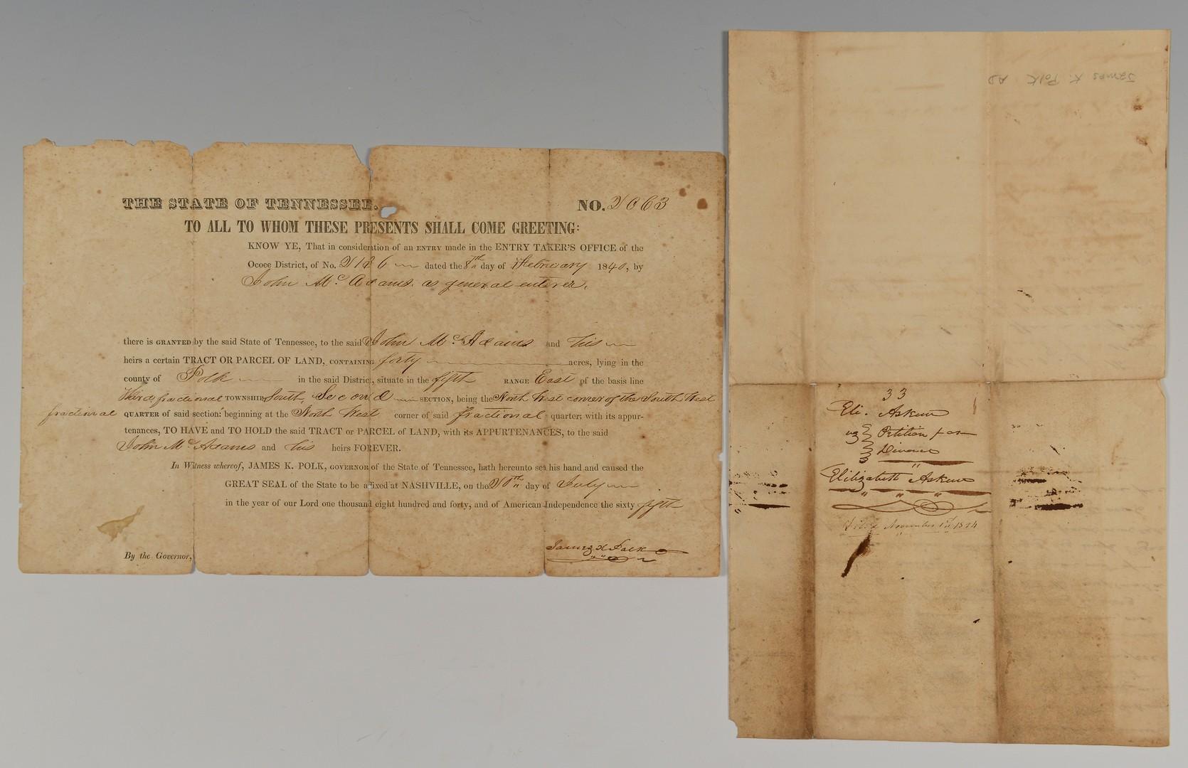 Lot 200: 2 James K. Polk documents