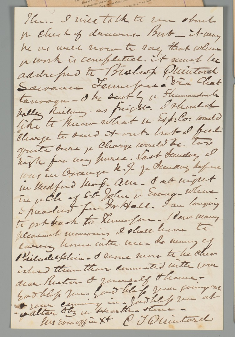 Lot 201: Mynders & Quintard TN Photos, Letter