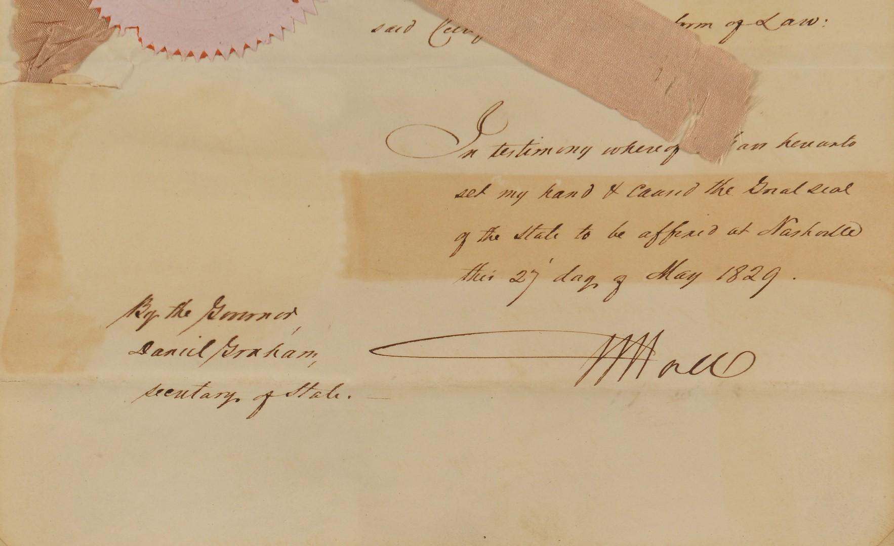 Lot 203: TN Gov. William Hall Signed Commission, 1829