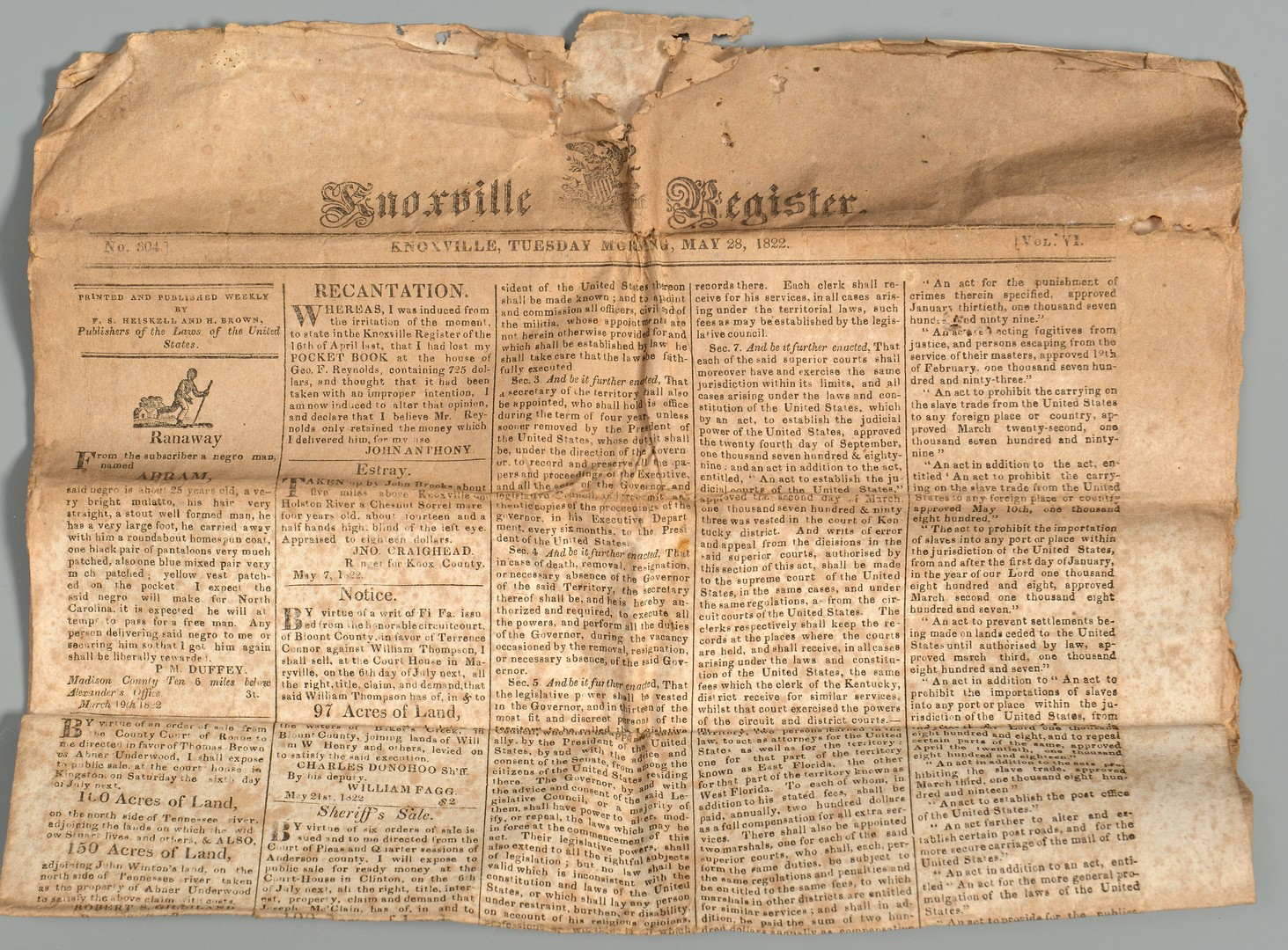 Lot 206: Early Knox Co., TN document archive relating to TN Militia, Gov. signed item