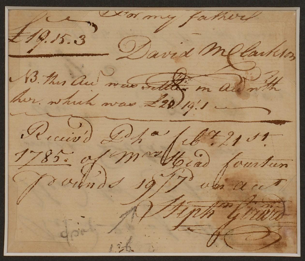 Lot 207: Framed Letter Col. John Crowell & Girard Engraving