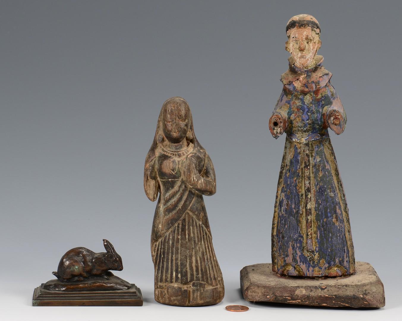 Lot 210: Barye Bronze Rabbit and 2 Santos