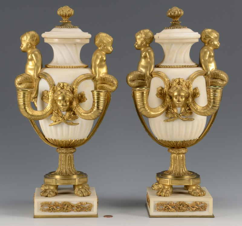 Lot 214: French Marble Urns, Ormolu Mounts