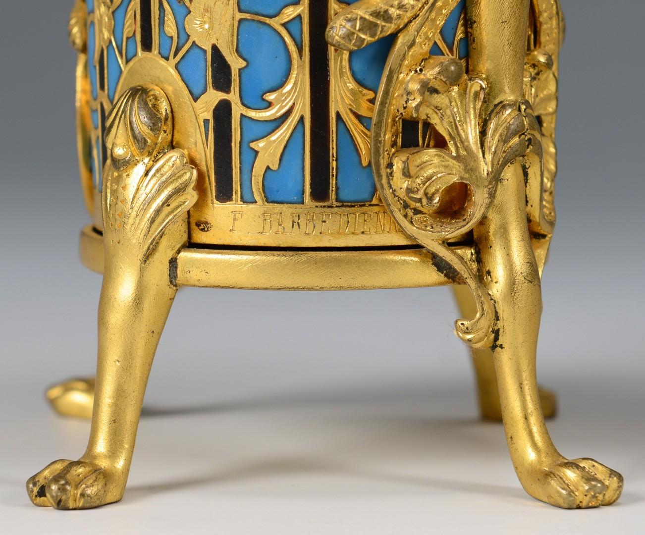 Lot 215: Pr. Barbedienne Foundry Enamel Vases