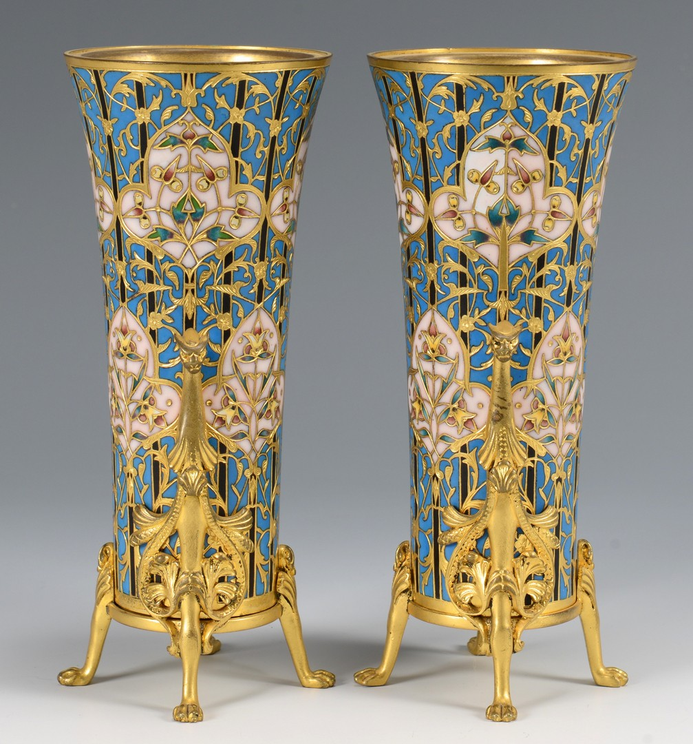 Lot 215: Pr. Barbedienne Foundry Enamel Vases