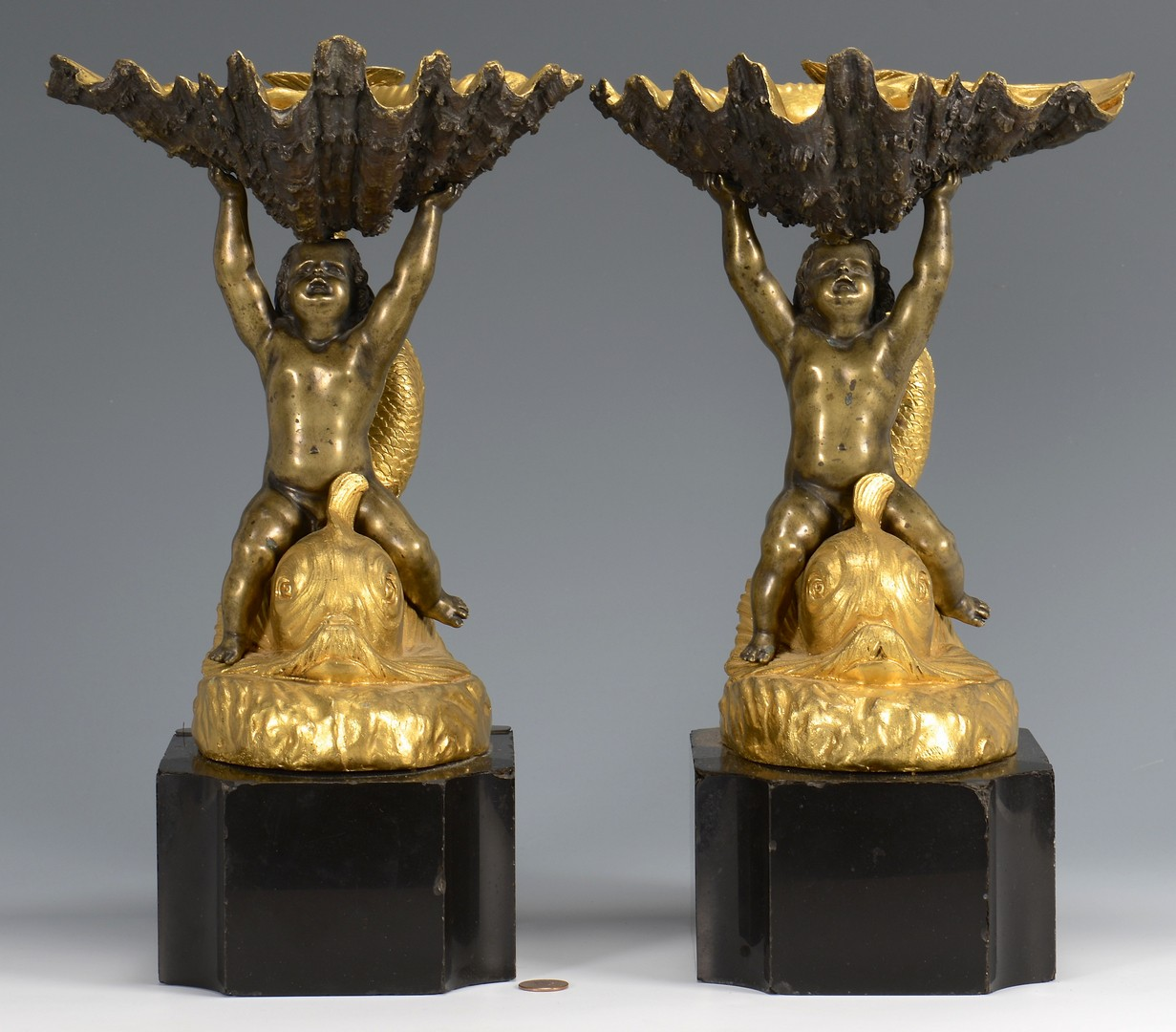 Lot 218: Pr. Bronze Sculptures w/ Cherubs & Shells