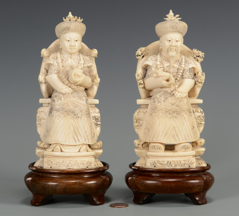 Lot 21: Pr. Chinese Carved Ivory Figures, Emperor & Empress