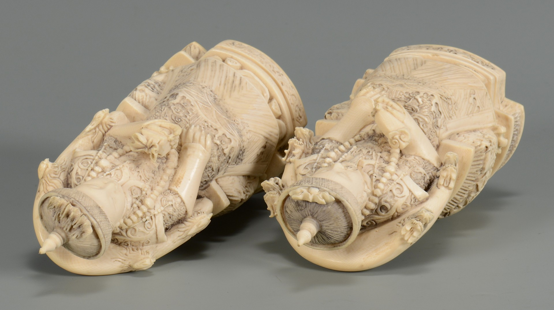 Lot 21: Pr. Chinese Carved Ivory Figures, Emperor & Empress
