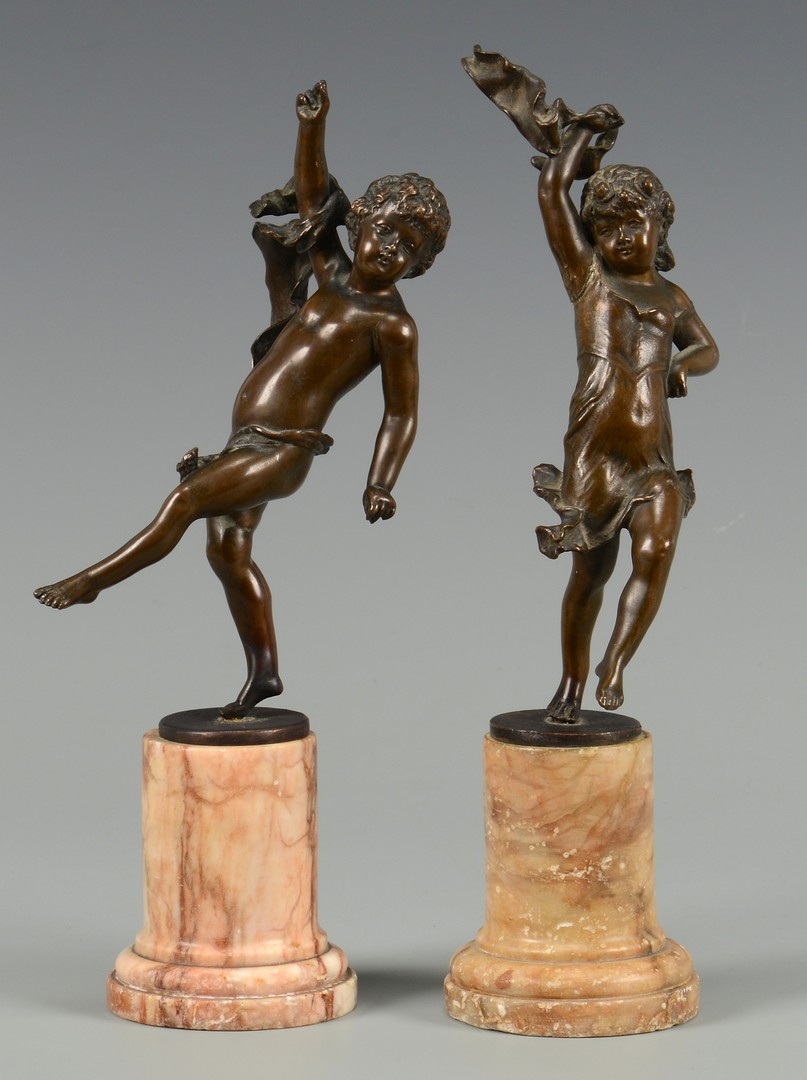 Lot 220: 2 F. Iffland Bronzes of Children plus marble stand