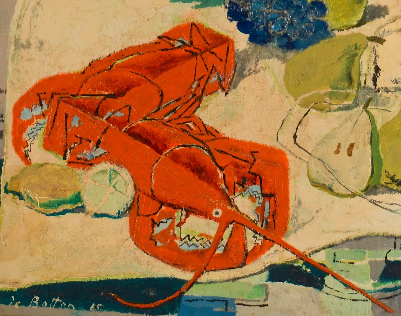 Lot 224: Jean de Botton o/c, Still Life with Lobsters