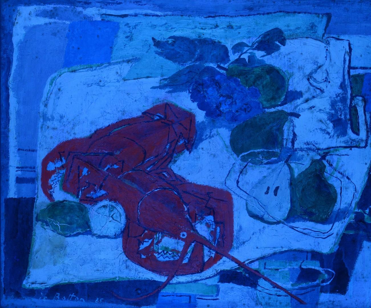Lot 224: Jean de Botton o/c, Still Life with Lobsters