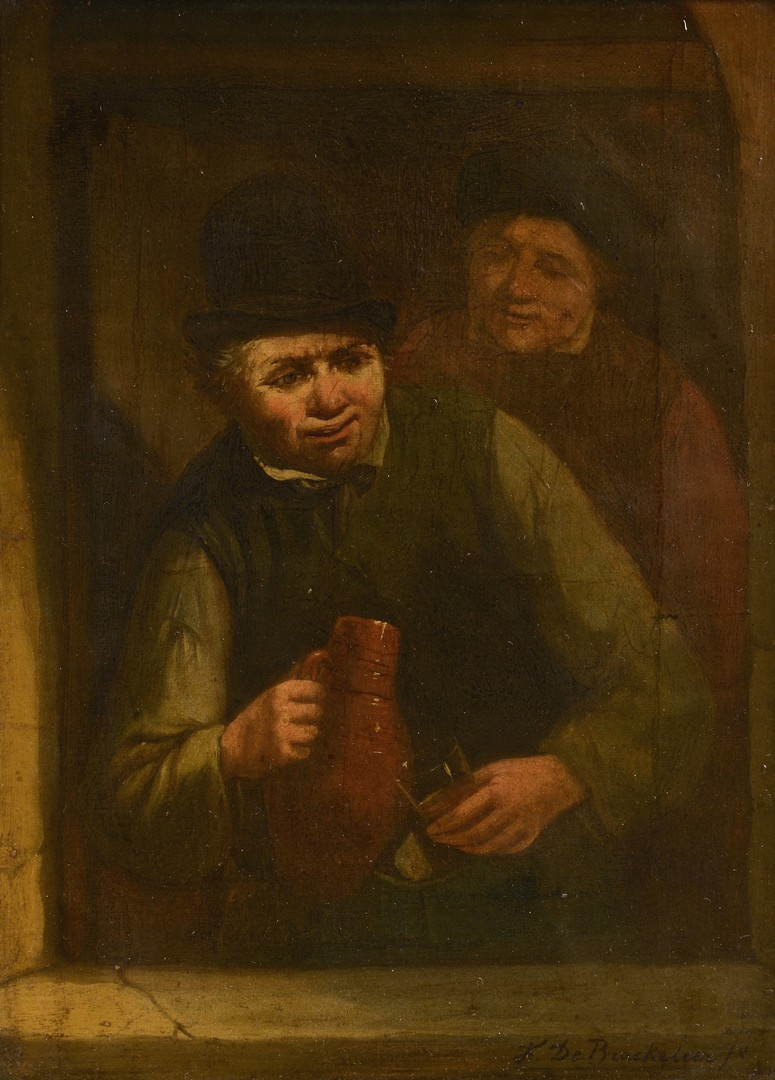Lot 226: F. De Braekeleer o/c, genre scene, man with tankard