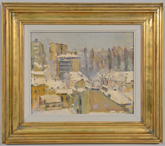 Lot 229: Attrib. G. Ionescu o/b winter landscape