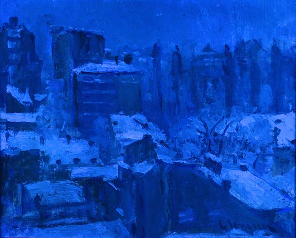 Lot 229: Attrib. G. Ionescu o/b winter landscape