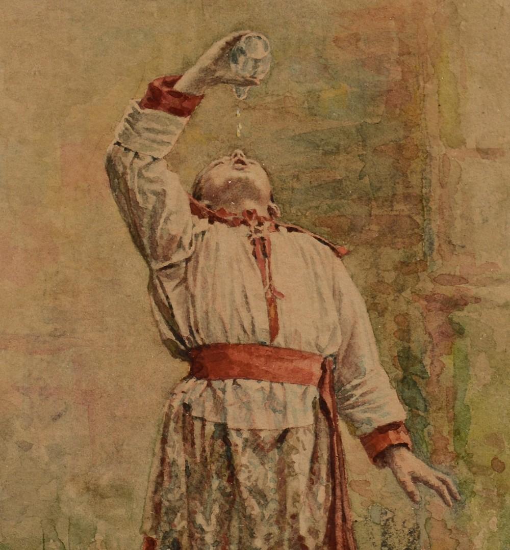 Lot 231: Jean B. Cheviliard Watercolor of Altar Boy