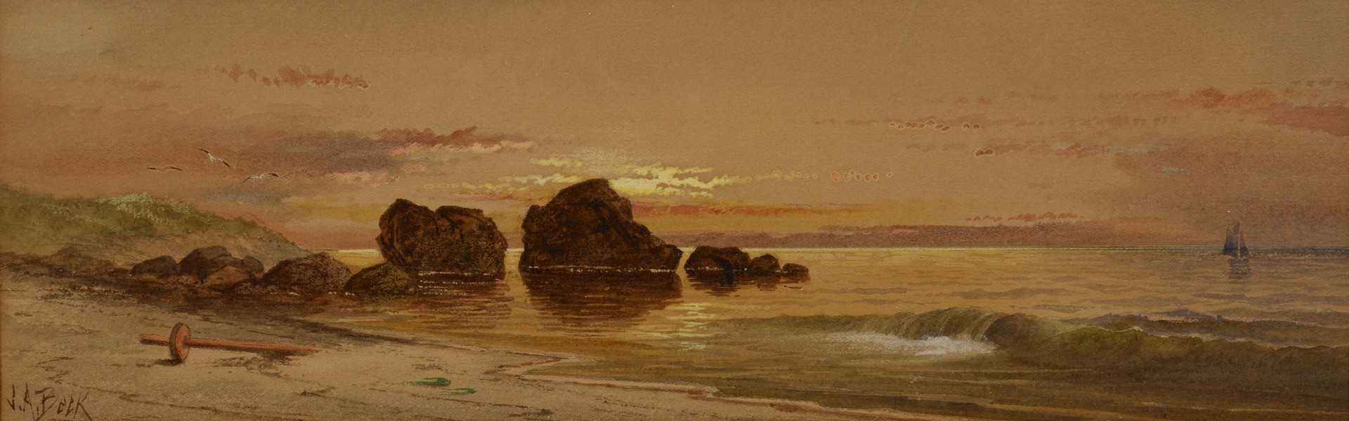 Lot 236: Pair J. Augustus Beck watercolors, coastal views