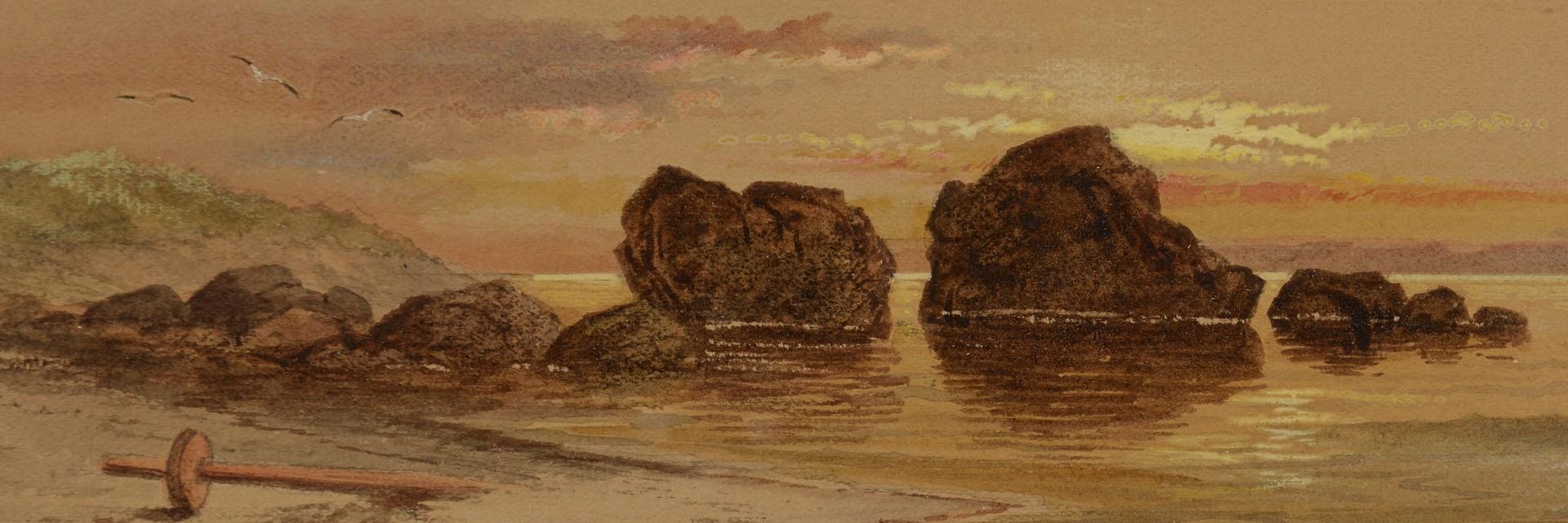 Lot 236: Pair J. Augustus Beck watercolors, coastal views