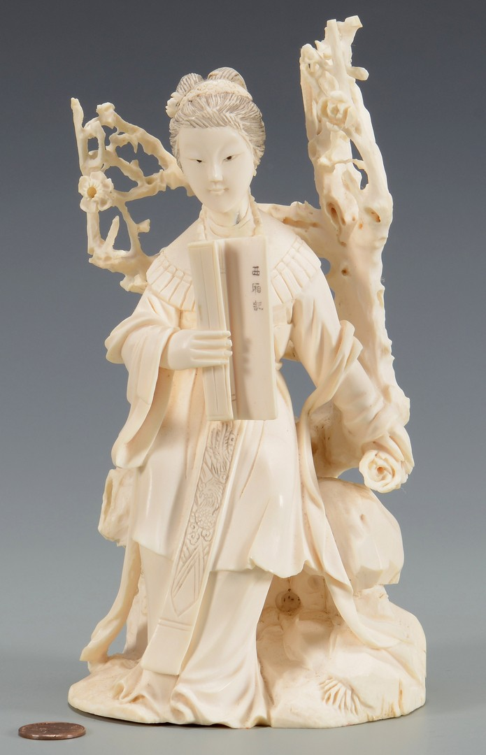 Lot 23: Chinese Carved Figure, Lady w/ Scroll