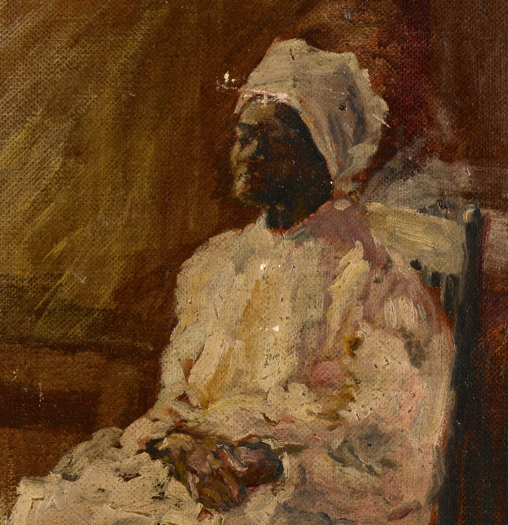 Lot 241: Southern School o/c, African American portrait