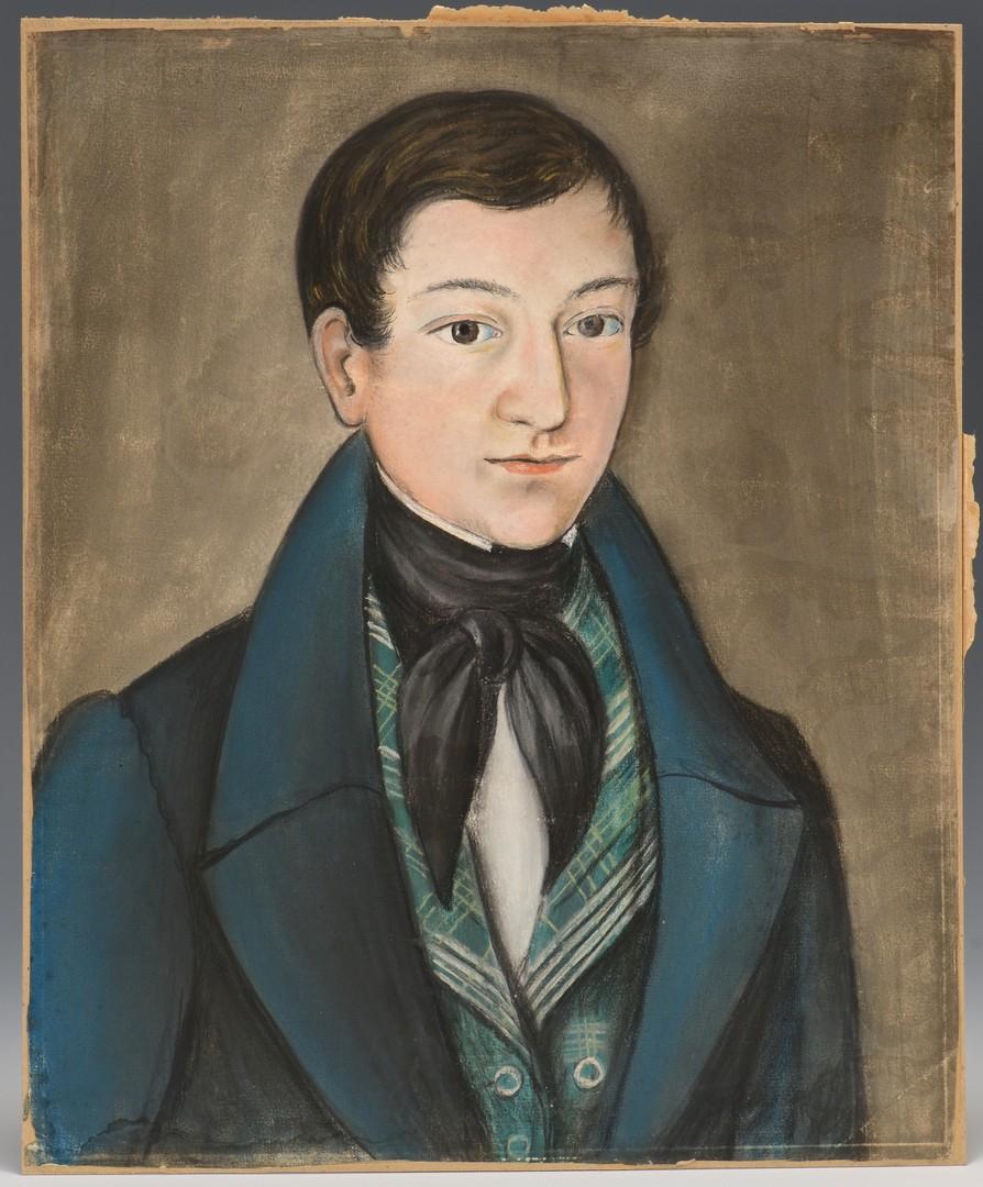 Lot 242: Folk Art Pastel Portrait of a Man