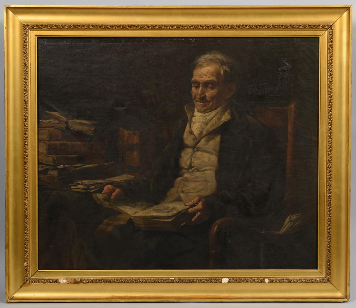 Lot 243: Interior Scene of Gentleman in Library Oil