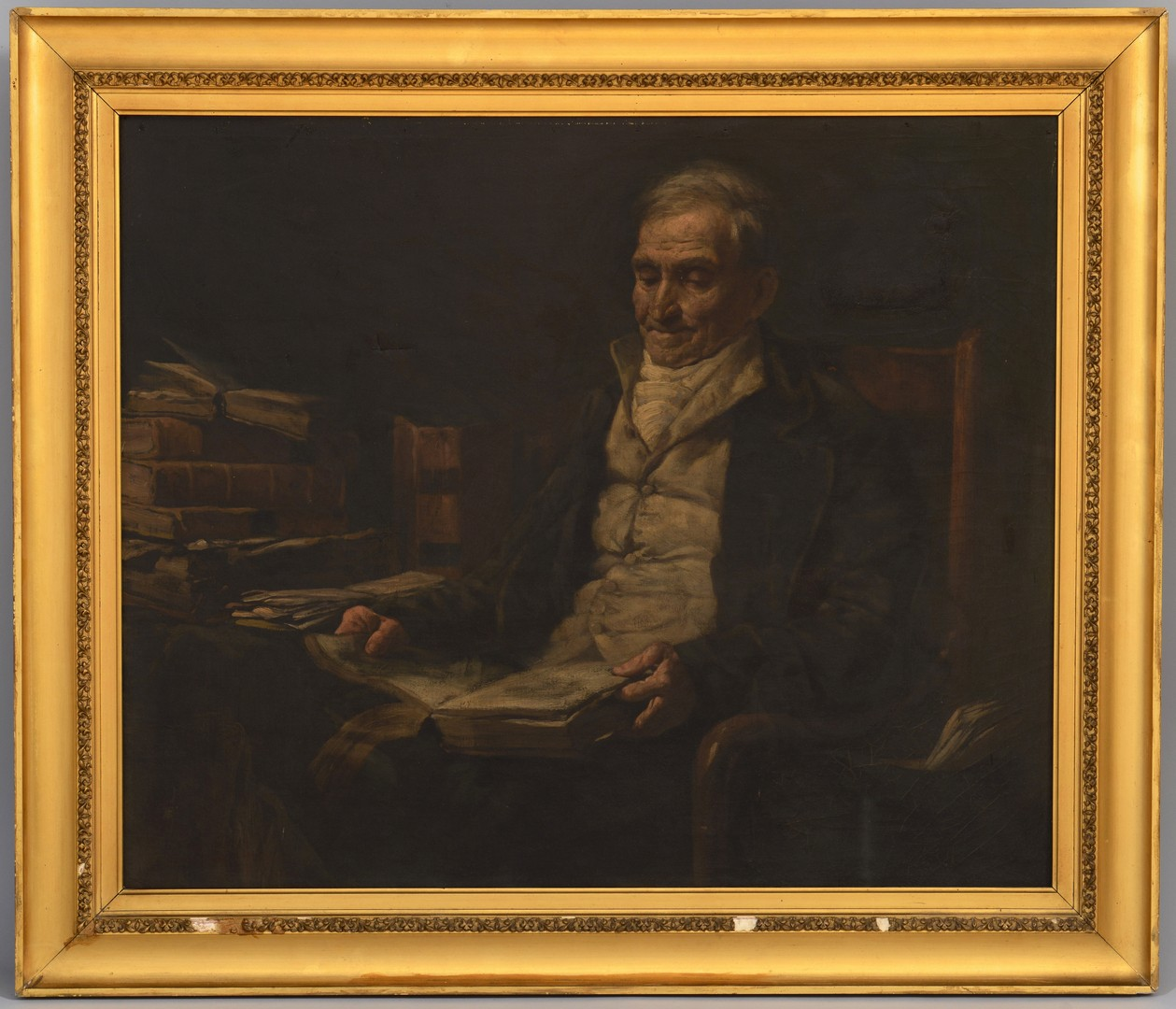 Lot 243: Interior Scene of Gentleman in Library Oil
