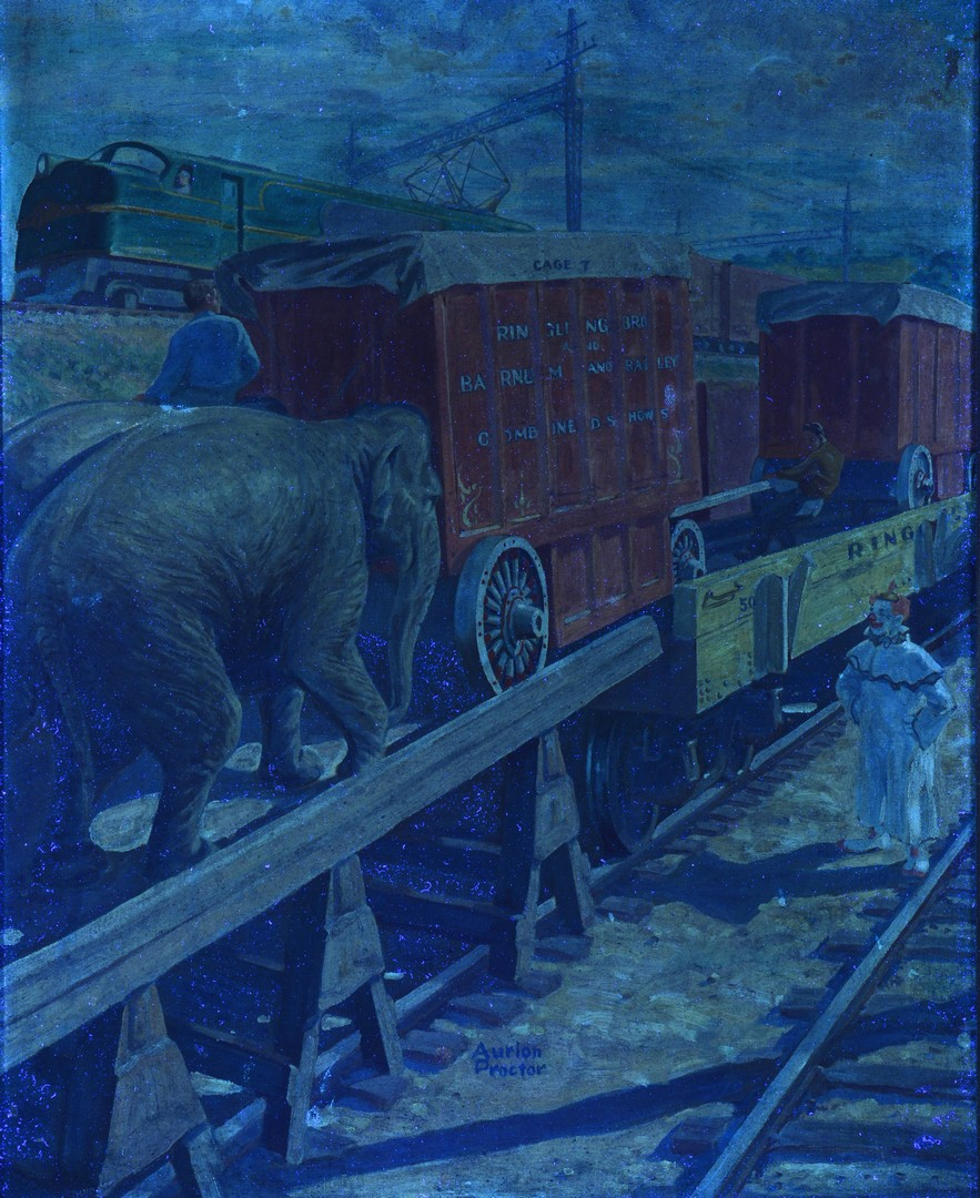 Lot 247: Aurion Proctor o/c illustration, Circus at the Tracks