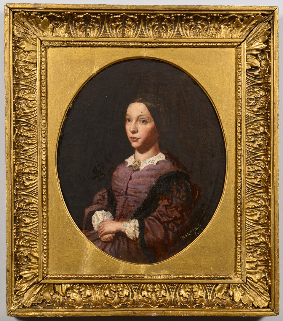 Lot 252: F. Bernard, Oil Portrait Young Woman
