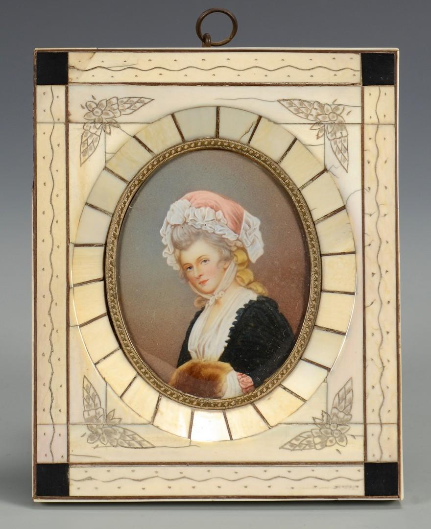 Lot 256: Miniature portraits, clock, and textile, 4 items
