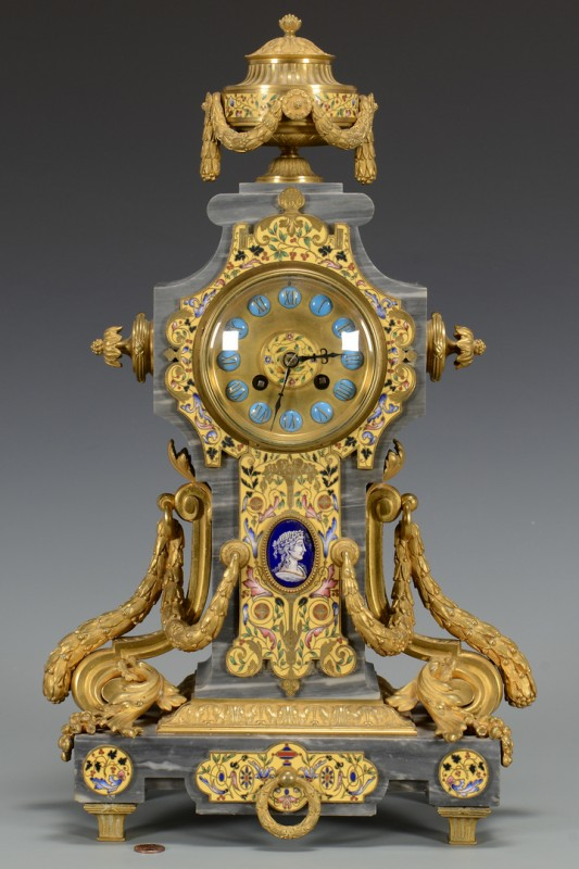 Lot 258: French Gilt Bronze and Enamel Clock