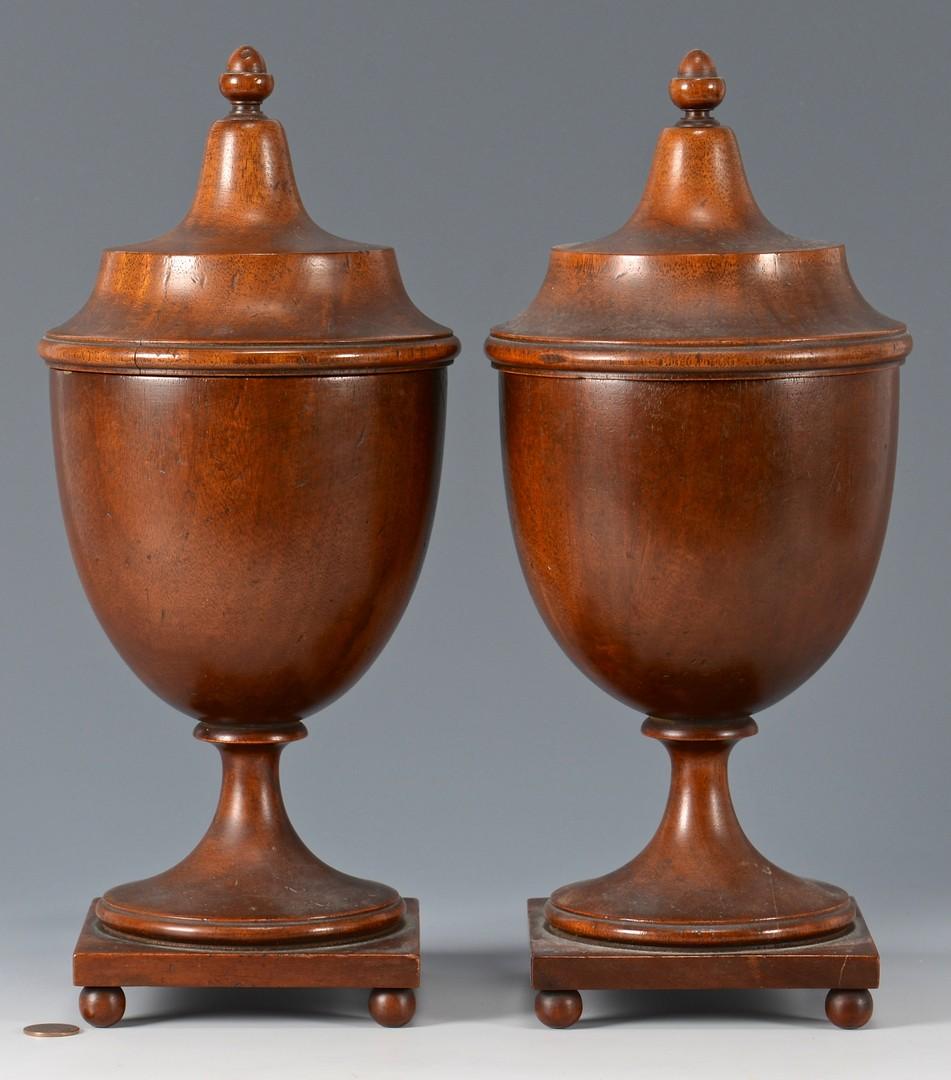 Lot 263: Pair Mahogany Urns