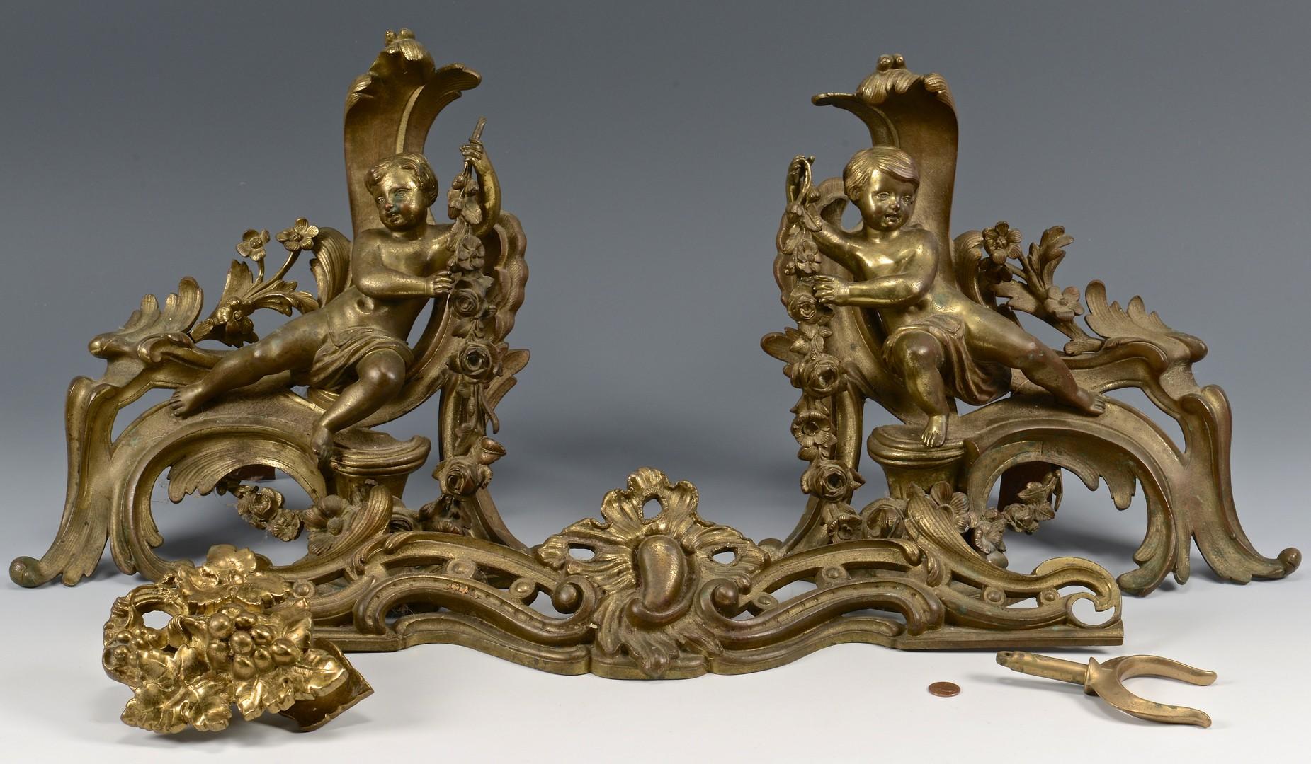 Lot 264: Pair Louis XVI Style Gilt Bronze Chenet Set & Other
